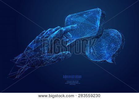 Human Hand Touch On Dialogue Clouds. Low Poly Wireframe Vector Illustration. Concept Of Social Netwo
