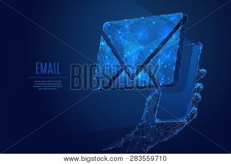 Email Symbol On The Smartphone Screen. Low Poly Wireframe Vector Illustration. Concept Of Postal Int