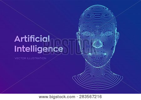 Ai. Artificial Intelligence Concept. Ai Digital Brain. Abstract Digital Human Face. Human Head In Ro