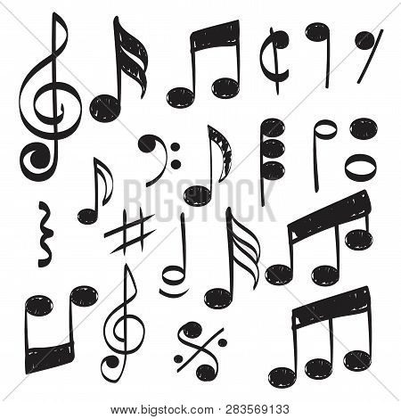 Music Note. Doodles Sketch Musical Vector Hand Drawn Pictures Isolated. Illustration Of Musical Note