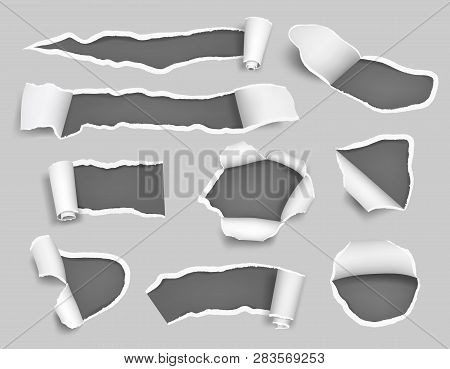White Paper Ripped. Empty Blank Pages Holes Craft Teared Bullet Lacerated Vector 3d Template. Illust