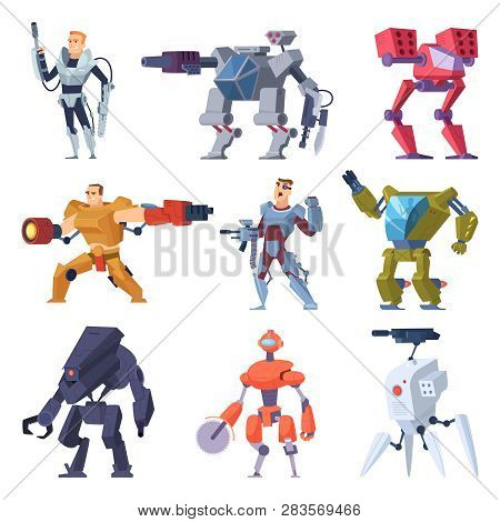 Combat robots. Armor transformers android protective electronic soldier future weapon vector characters. Illustration of robot machine, combat robotic technology poster