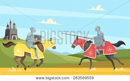 Knights Tournament. Medieval Chivalry Prince In Brutal Armour Helmet Warriors On Horse Vector Cartoo