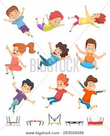 Kids Jumping. Trampoline Childrens Athletic Playing On Playground Active Games Vector Cartoon People
