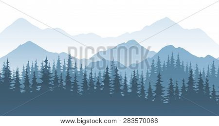 Mountain Forest - Vector Landscape Illustration With Silhouette Or Rocks And Trees.