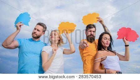 Mass Communication. Communication Occurs Through Speech Balloons. Friends Send Messages On Comic Bub