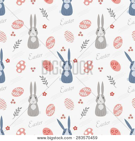 Cute Pastel Bunny And Easter Egg Seamless Pattern.