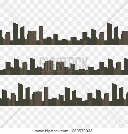 City Vector Panorama. Cityscape Architecture Background. Urban Set Panorama Cities