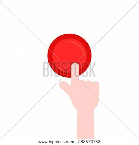 Forefinger Pushing On Red Button. Concept Of Emergency Button Like Web Interface Element With Pressi