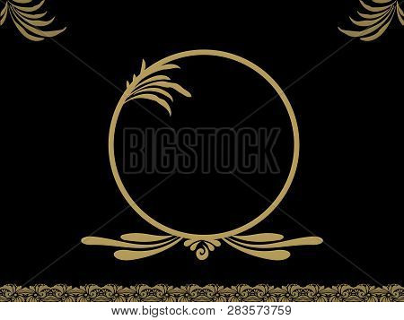 Black Background With Golden Retro Vintage Floral Decorations And Circular Border