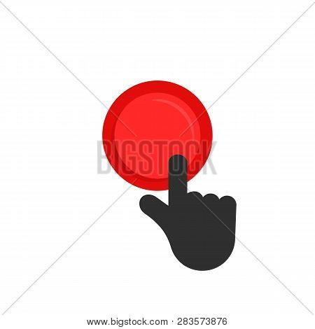 Black Hand Pushing On Red Button. Cartoon Style Simple Modern Minimal Logo Graphic Design Isolated O