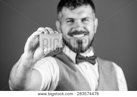 Man Bearded Hipster Hold Blank Card Blue Background. Take This Card. Make Shopping Easy. Which Bank