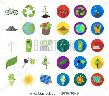 Bio And Ecology Cartoon, Flat Icons In Set Collection For Design. An Ecologically Pure Product Vecto