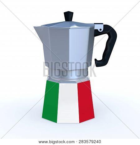 Italian Coffee Pot With Flag, 3d Illustration