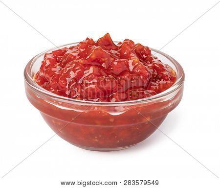 Bowl with salsa sauce isolated on white background