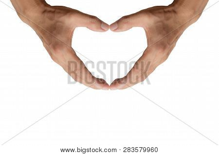 Man Hands Making Heart Shape Isolated On White Background Love Gesture Lovely Symbol Body Emotion La