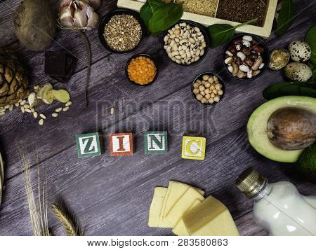 Text Zinc, Ingredients Or Products Containing Zinc And Dietary Fiber On Wooden Board, Natural Source