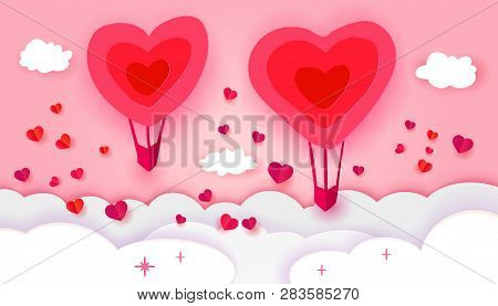 Happy Valentines Day Typography With Paper Art Cut Out Red Heart Doodle Shapes Balloon Flying And He
