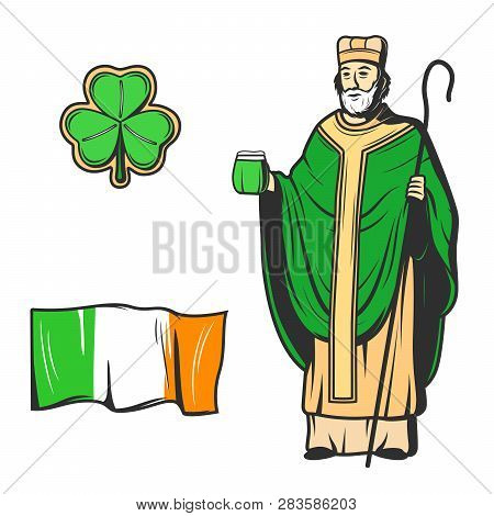 St Patricks Day Vector Symbols Of Saint Patrick Apostle Of Ireland With Glass Of Green Beer And Bish