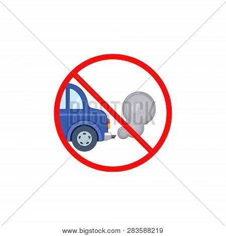 No Idling Turn Engine Off Sign Symbol Icon On White Transparent Background. Forbidden Exhaust Round
