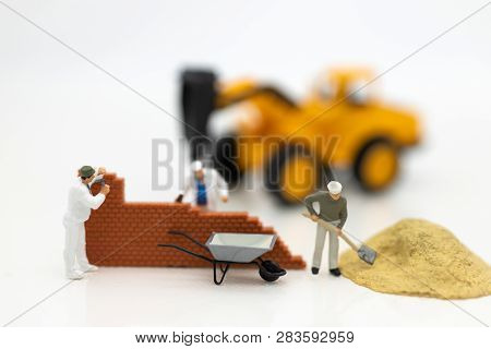 Miniature People: Construction Workers Building Plans , Have Building Materials, Sand, Brick, Mortar