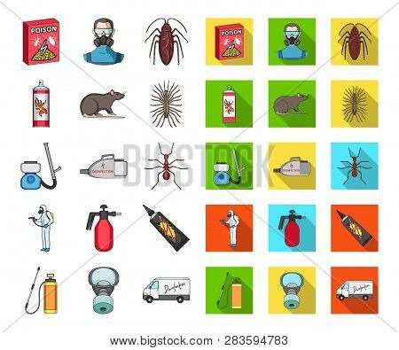 Pest, Poison, Personnel And Equipment Cartoon, Flat Icons In Set Collection For Design. Pest Control