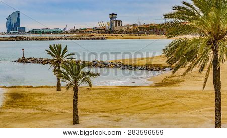 Beautiful View Of Barcelona Beach And The Mediterranean Sea With Palm Trees And Orange Sand On A Clo