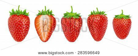 Strawberry Isolated. Collection Of Strawberries Isolated On White Background