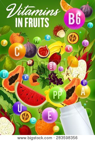 Vitamins In Fruits, Natural Organic Healthy Food. Vector Multivitamins And Mineral Complex In Figs,