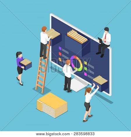Flat 3d Isometric Business People Are Organize Document Files And Folders Inside Computer. File And