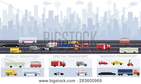 City Traffic Background With Transport Vehicles. City Infographics Design Elements Set With Building