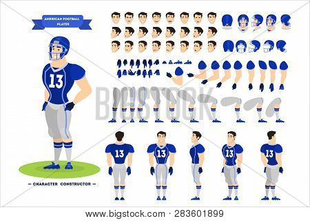 American Football Player Character Set For The Animation