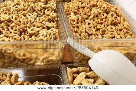 Many Pieces Of Bread Called Taralli Or Tarallini In Italian Language