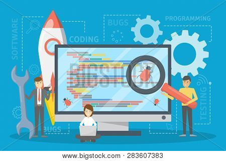 Testing Software Concept. Application Code Test Process