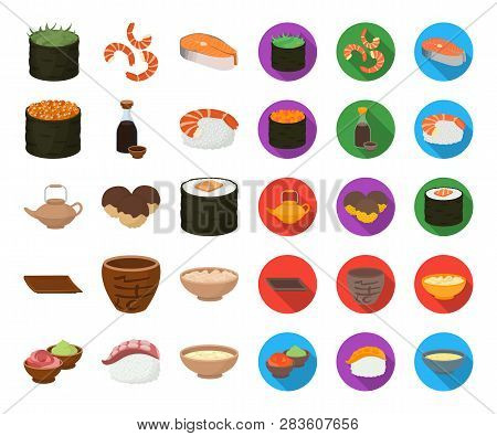 Sushi And Seasoning Cartoon, Flat Icons In Set Collection For Design. Seafood Food, Accessory Vector