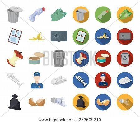 Garbage And Waste Cartoon, Flat Icons In Set Collection For Design. Cleaning Garbage Vector Symbol S