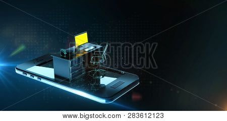 Office Desk With Monitor Keyboard Armchair And Mouse On Smartphone Screen In Abstract Cyberspace. Mo