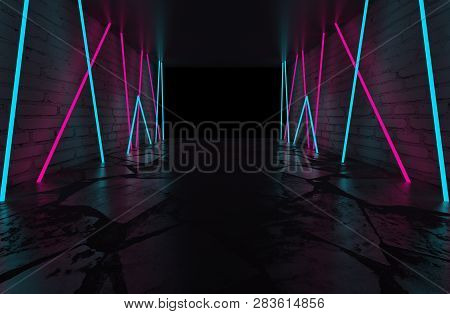 Background Of Empty Room, Concrete Floor And Walls, Tiles. Multicolored Laser Lines, Neon Light, Smo