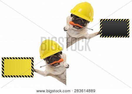 Frolic Mechanic Construction Worker Pug Dog With Constructor Helmet, Holding Orange Screwdriver And
