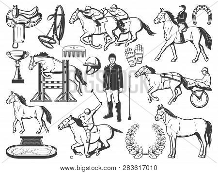 Equestrian Sport, Horse Polo Racing Equipment Accessory. Polo Jockey Rider Bat And Outfit, Horse Rac