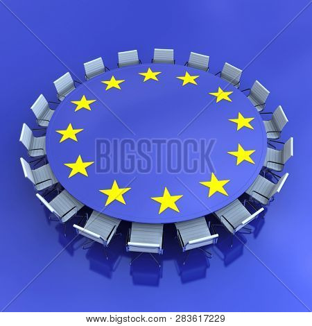 3D rendering Round meeting table with the European symbol