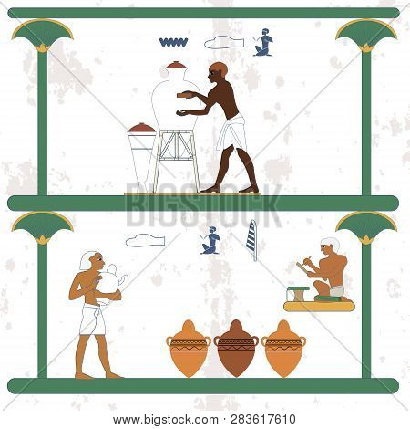 Ancient Egypt Background. Ceramist At Work. Scribe And Ceramist Counting Jugs. Historical Background
