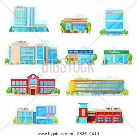 Houses And Buildings Vector Icons. Isolated Hospital, Flower Shop Or City Hall And Post Office Or Ph