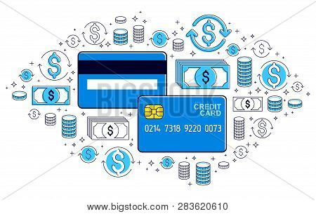Credit Card And Financial Icon Set, Banking Credit Or Deposit, Shopping And Marketplace Payments, On