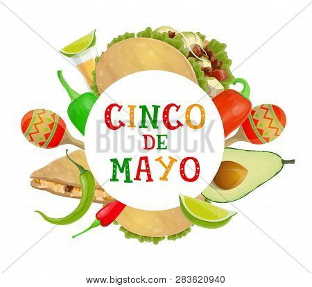 Mexican Holiday Cinco De Mayo Celebration Poster Of Chili And Jalapeno Pepper, Maracas And Tequila.