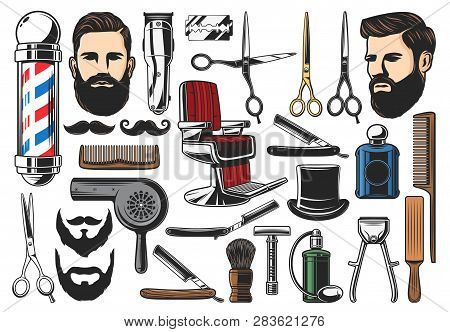 Barber Tools, Barbershop And Hairdresser Equipment, Beard Or Mustache Shave And Haircut. Vector Barb