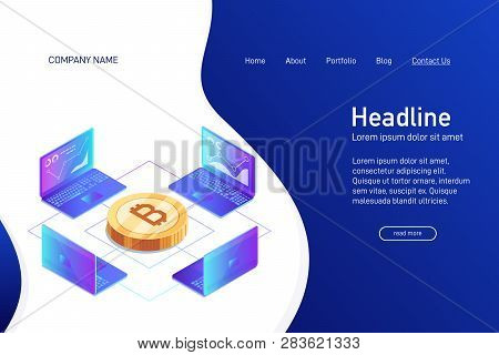 Concept Of Web Site Main Page, Landing Page With Isometry. Isometric Concept Of Mining Bitcoin Using