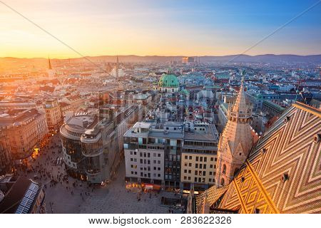 Vienna. Aerial Cityscape Image Of Vienna Capital City Of Austria During Sunset.