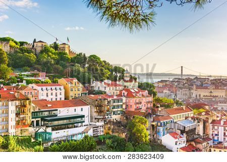 poster of Lisbon, Portugal City Skyline with Sao Jorge Castle and the Tagus River.
