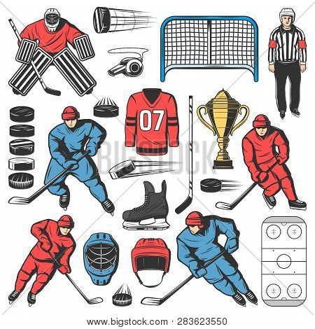 Ice Hockey Players Team, Outfit And Equipment Icons. Vector Forward, Defenseman And Goaltender Or Go